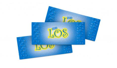 Zubi Lose - Brieflose Blau/Gelb bedruckt Glücks-Los