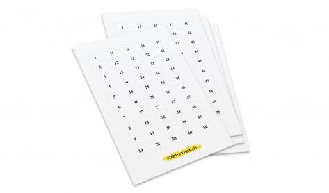 Selbstklebenummer, à 50 Nummern pro Bogen, für die Beschriftung der Preise