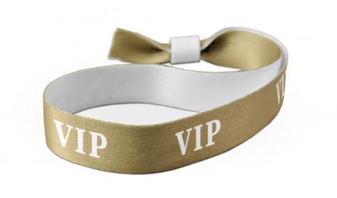 "Party-Armbänder / Kontrollarmbänder Texstar - ""VIP"" aus Textil- / Stoffmaterial - Gold/Weiss"