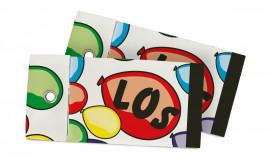 Tombola-Los mit aufgedruckten Ballons und einem Ösen-Verschluss