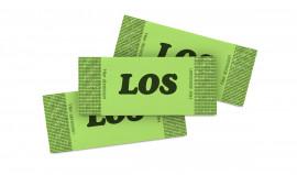 Tombola-Los seitlich gerippt mit grünem Papier